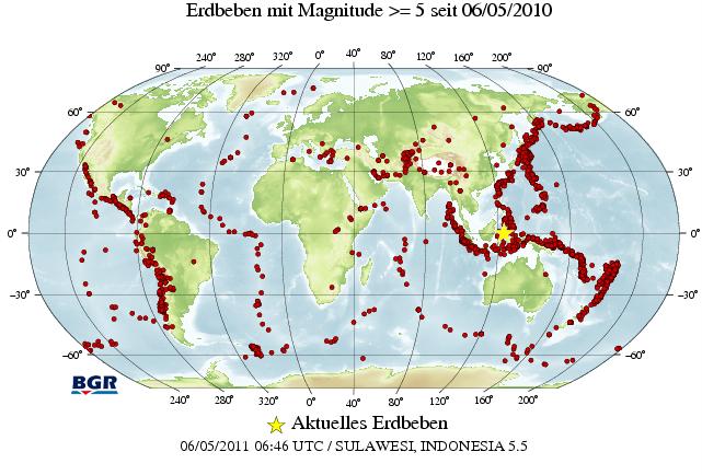 erdbeben karte BGR/Seismologie/Aktuelle Weltweite Erdbeben